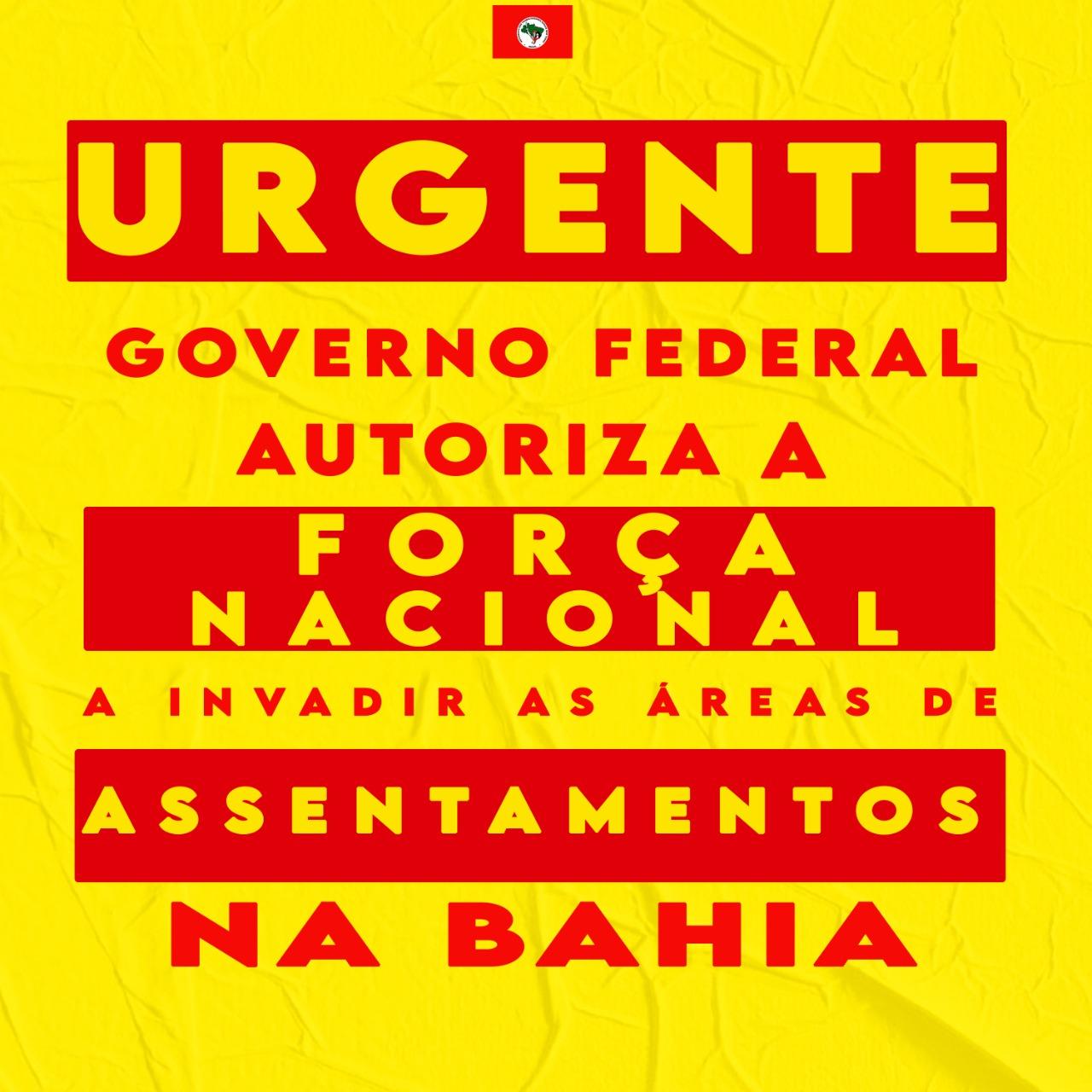 MST repudia ameaça de invasão da força nacional às áreas de Reforma Agrária na Bahia